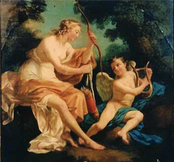 Cupid Playing Lyre for Venus Who is Holding His Bow and Arrows.